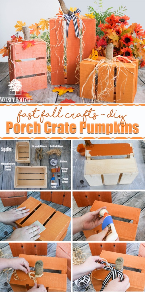 Use Rustic Wood Crates from Walnut Hollow to create these fast fall porch crate pumpkins.