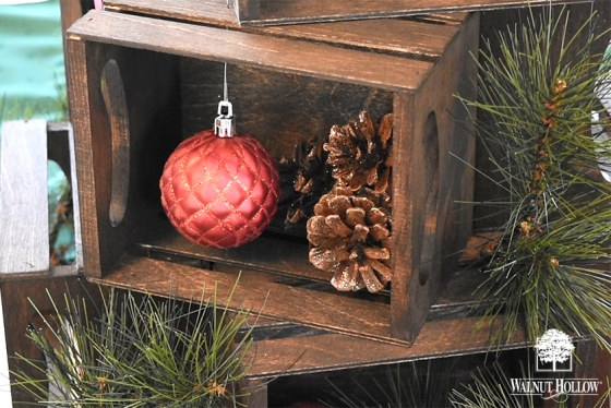 Decorate the Mini Crate Christmas tree with Holiday Ornaments