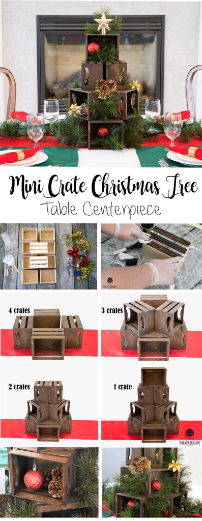 Use Walnut Hollow Mini Crates to create a beautiful Mini Crate Christmas Tree table Centerpiece.