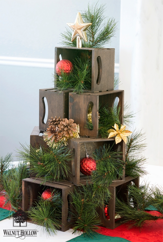 Mini Crate Christmas Tree - Table Centerpiece