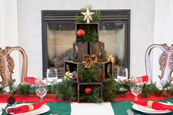 Table Centerpiece - Mini Crate Christmas Tree with Walnut Hollow Mini Crates