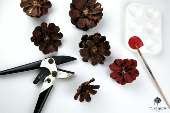 Rustic Wood Slice Wreath Painted Pinecone Flowers