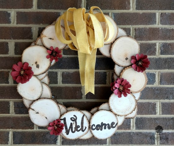 Rustic Wood Slice Wreath, Painted Pinecone Flowers, Woodburned Welcome
