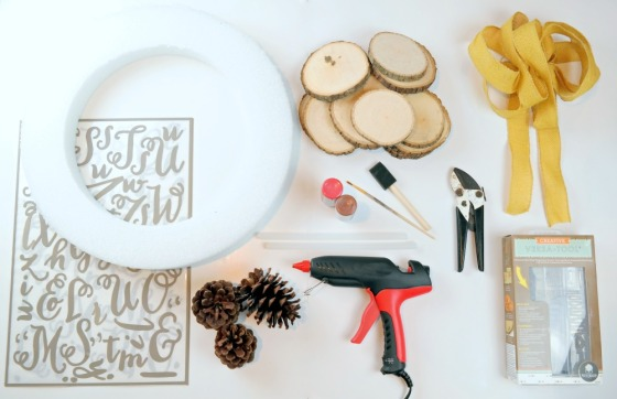 Rustic Wood Slice Wreath Supplies