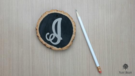 Stenciled Chalkboard Wood Slice