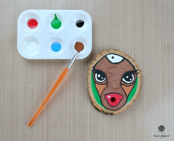 Painted Rudolph Wood Slice