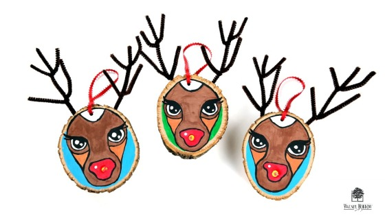 Light-Up Rudolph Wood Slice Ornaments
