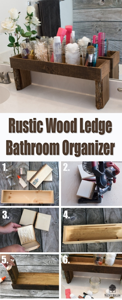 Use a Walnut Hollow Rustic Wood Ledge and some Bark Edge Boards to make this simple, rustic wood ledge organizer!