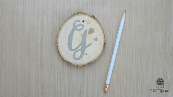 Stenciled Lettered Wood Slice