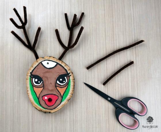 Wood Slice Rudolph Antlers