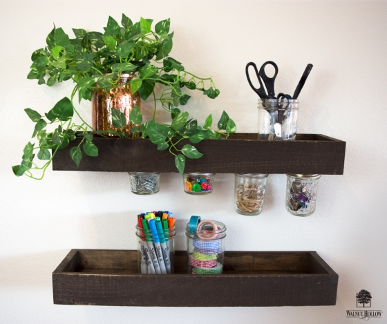 Rustic Wood Ledge magnetic Jar Storage Shelves