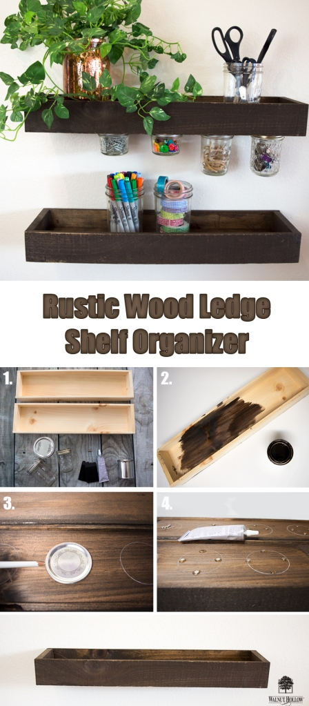 Use Walnut Hollow Rustic Wood Ledge to create beautiful Mason Jar magnetic storage shelves.