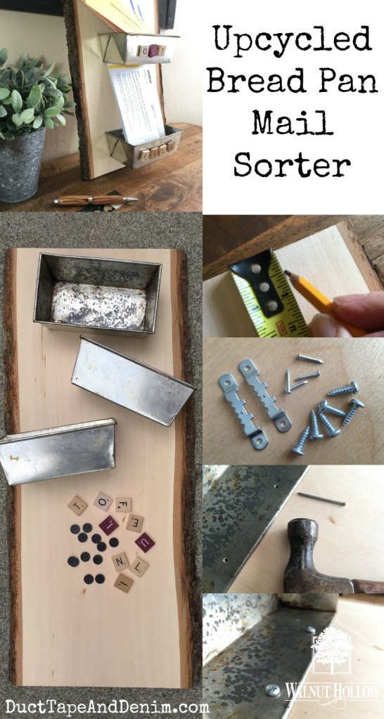How to make an upcycled bread pan mail sorter with Walnut Hollow Basswood plank