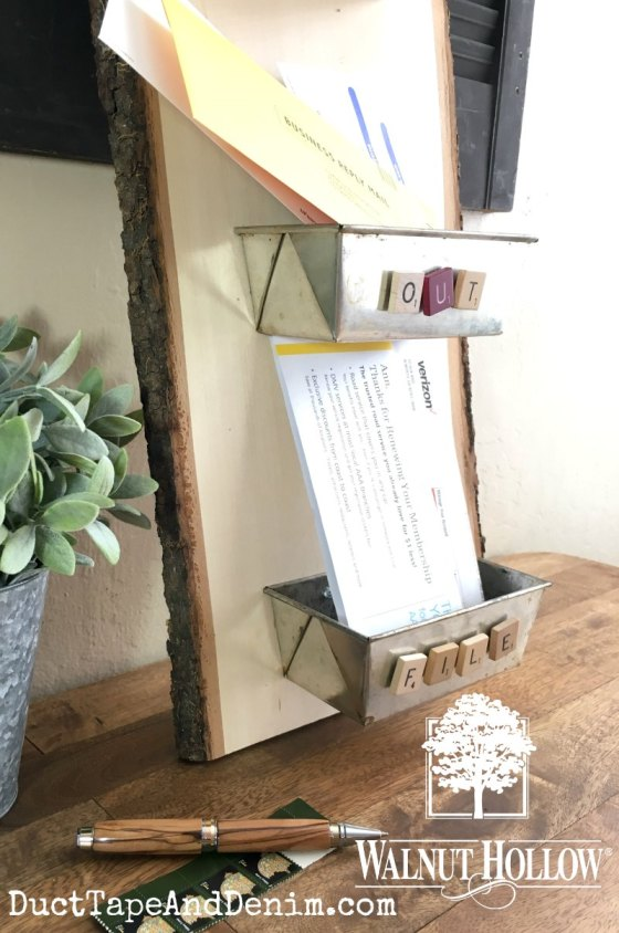 Upcycled bread pan mail sorter on desk