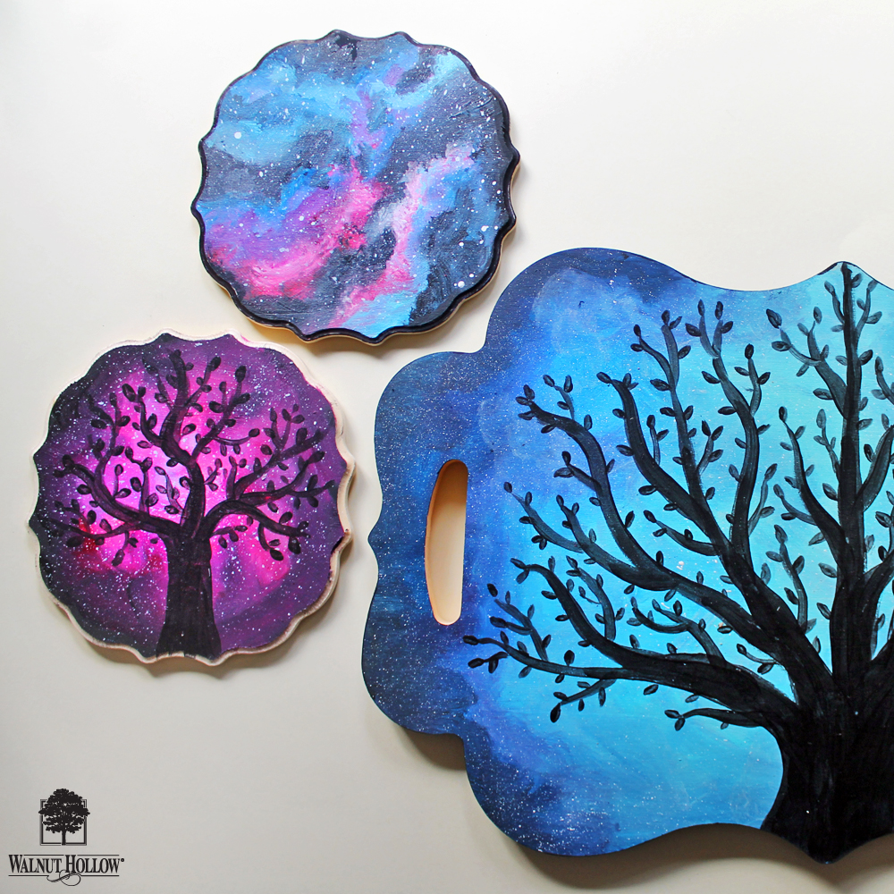 how to paint an acrylic galaxy on wood walnuthollowcrafts