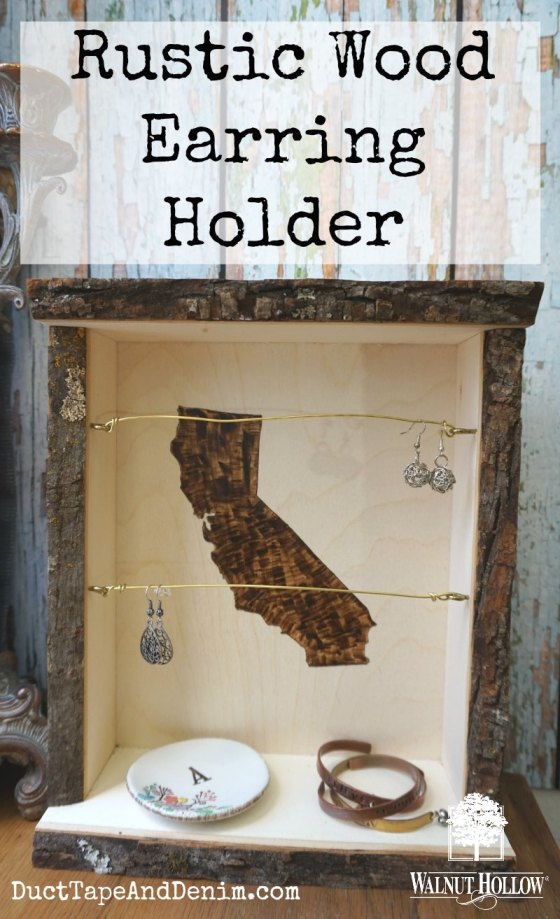 Rustic wood earring holder