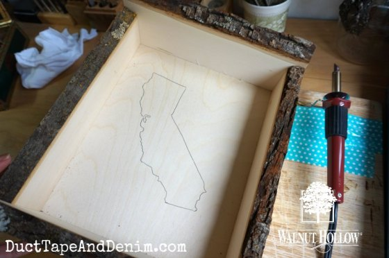 State outline before wood burning
