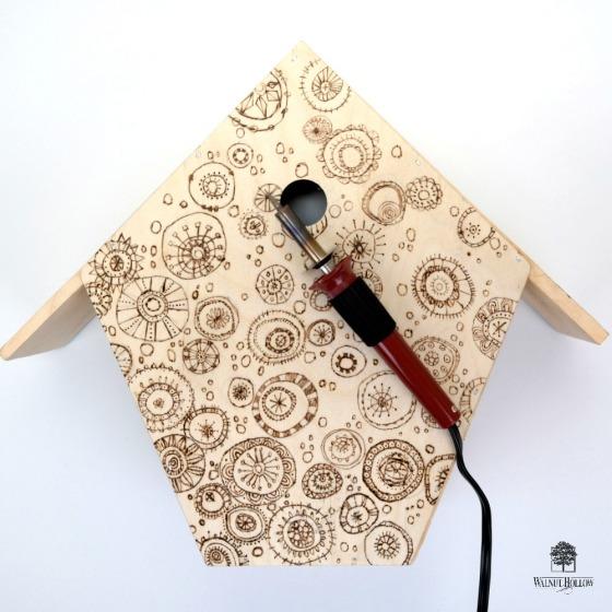 Wood Burned Birdhouse Box by Dana Tatar
