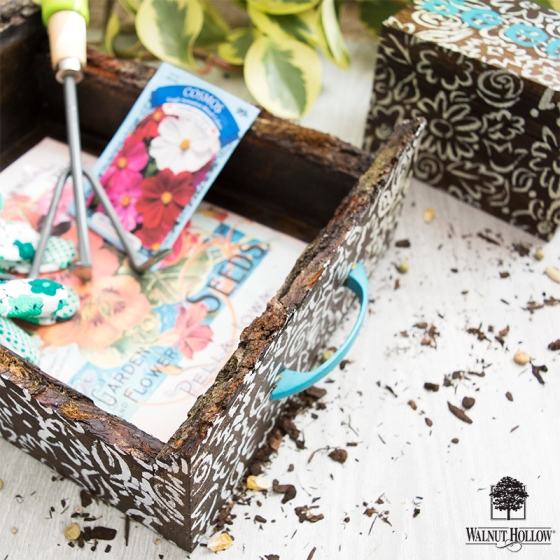 Walnut Hollow and Stencil Girl Garden Tray and Seed Box