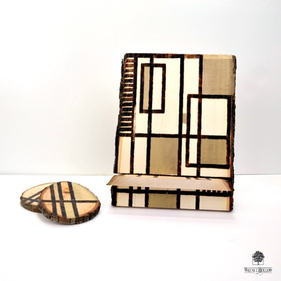 Gold Accented Bark Edge Slide Together Tablet Stand + Coaster Set by Dana Tatar