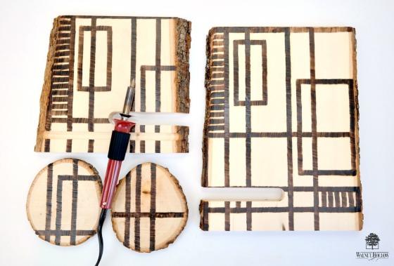 StencilGirl Segments Wood Burned Tablet Stand
