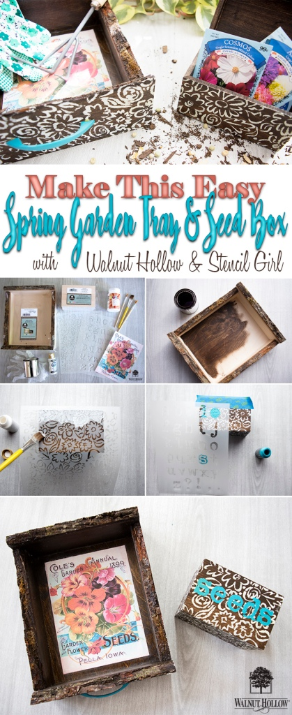 Make this Easy Stenciled Garden Tray and Seed box