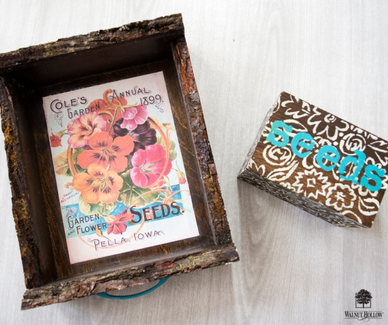 Stenciled Garden Tray and Seed Box