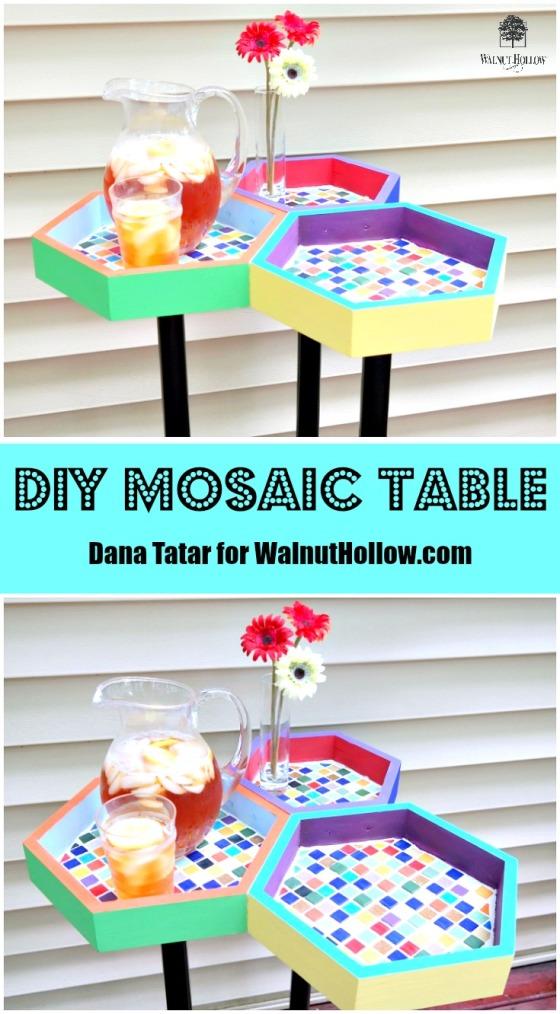 DIY Mosaic Table Video Tutorial by Dana Tatar for Walnut Hollow