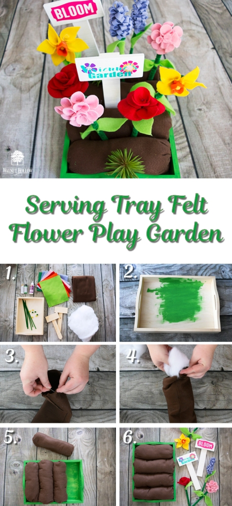 Make this Felt Flower Play Garden with a Walnut Hollow Serving Tray!