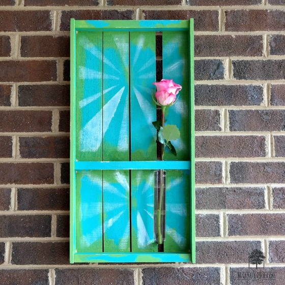 Rustic Pallet Tray Wall Art with Test Tube Flower Vase by Dana Tatar for Walnut Hollow