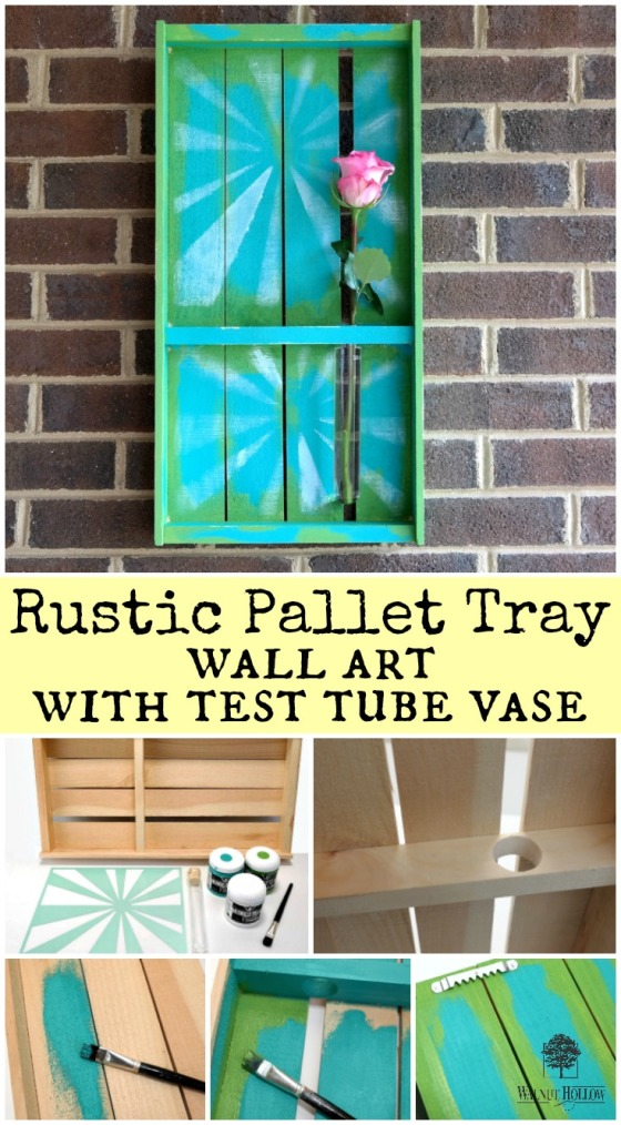 Rustic Pallet Tray Wall Art with Test Tube Vase Photo Tutorial by Dana Tatar for Walnut Hollow