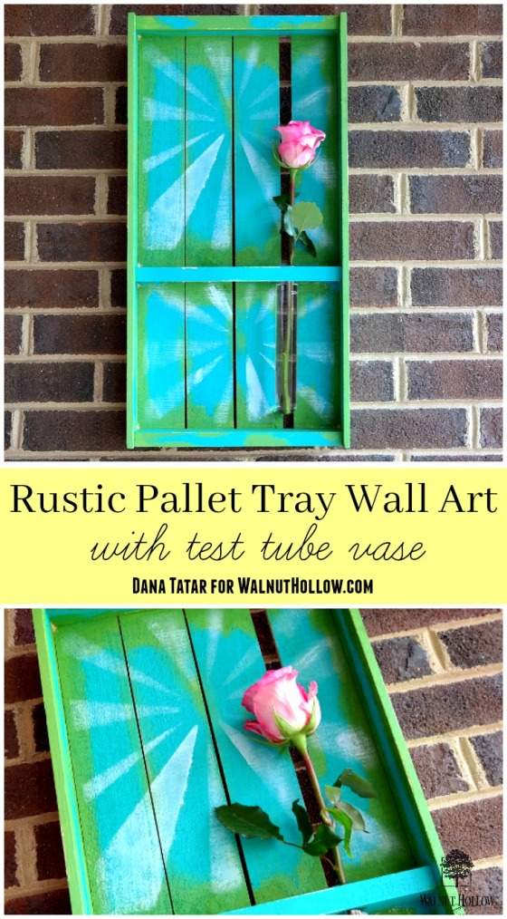 Rustic Pallet Tray Wall Art with Test Tube Vase by Dana Tatar for Walnut Hollow