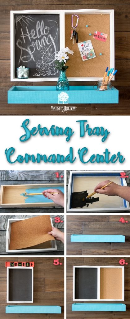 Make a simple DIY Command Center with Walnut Hollow Serving Trays and a Rustic Wood Ledge.
