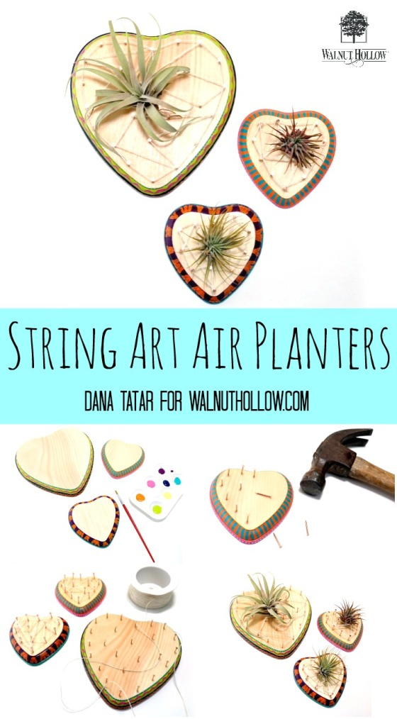 DIY Sting Art Air Plant Hearts by Dana Tatar for Walnut Hollow