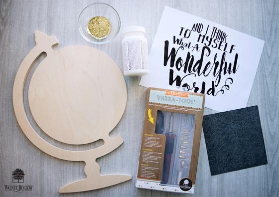 hand lettered globe shape materials