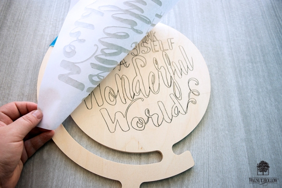 trace the hand lettering onto the wood shape
