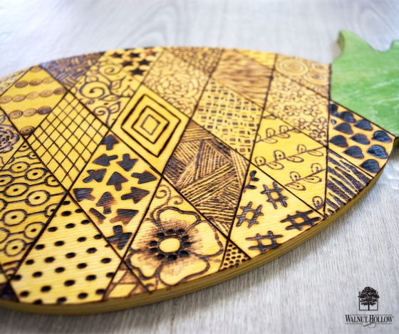 Patchwork Pineapple wood burning with the Creative Versa-Tool