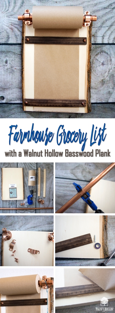 Make an Industrial Farmhouse Grocery list with a Walnut Hollow Basswood plank and some pipe!