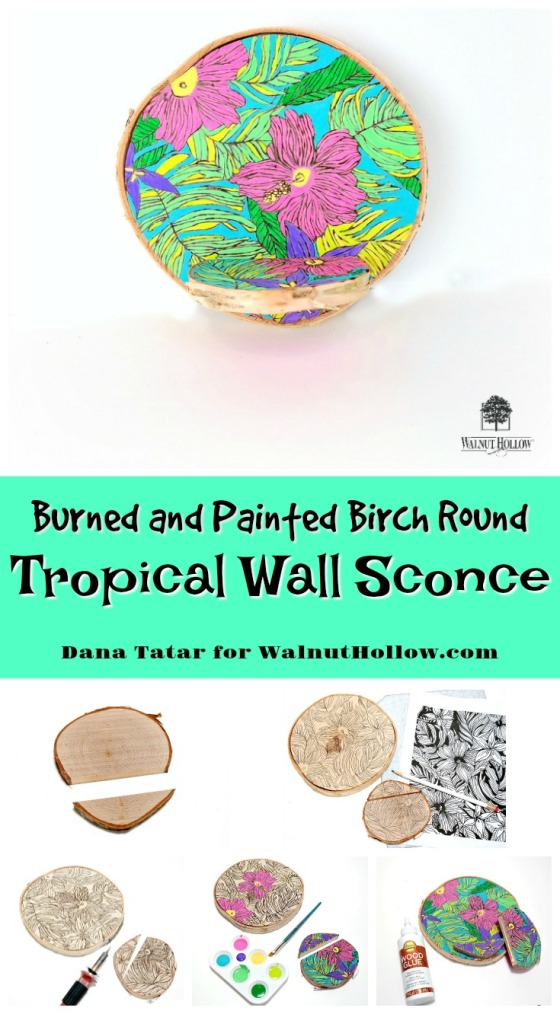 Tropical Birch Round Wall Sconce by Dana Tatar for Walnut Hollow