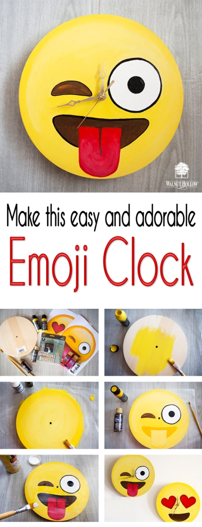 DIY Emoji Clock with Walnut Hollow Clock Kits and Surfaces