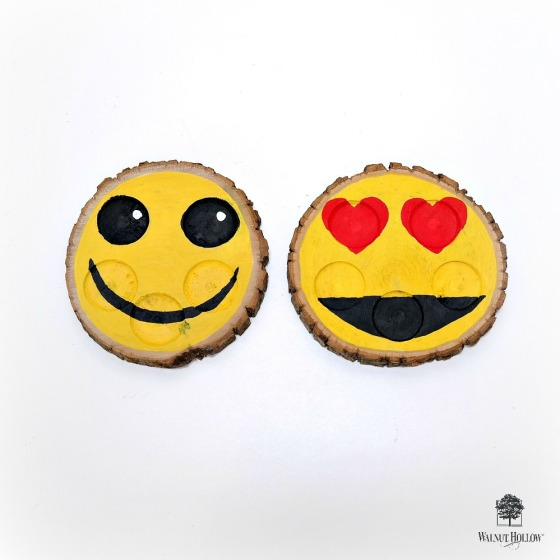 Smiley Face and Heart Eyes Emoji Nail Polish Holders by Dana Tatar for Walnut Hollow