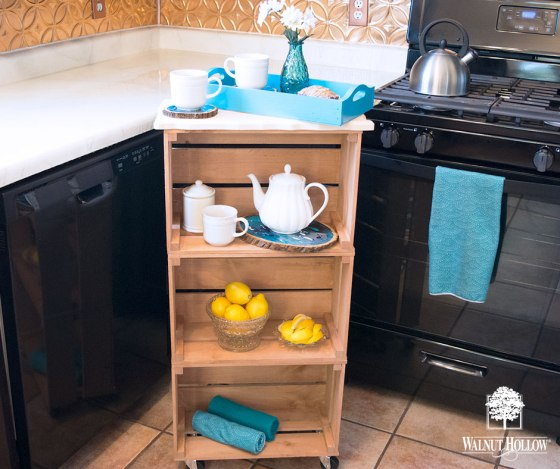 Mobile Marbled Wood Crate Tea or Coffee Station