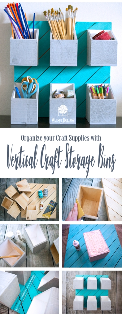 Add boxes to a large Rustic Pallet for Vertical Craft Supply Storage