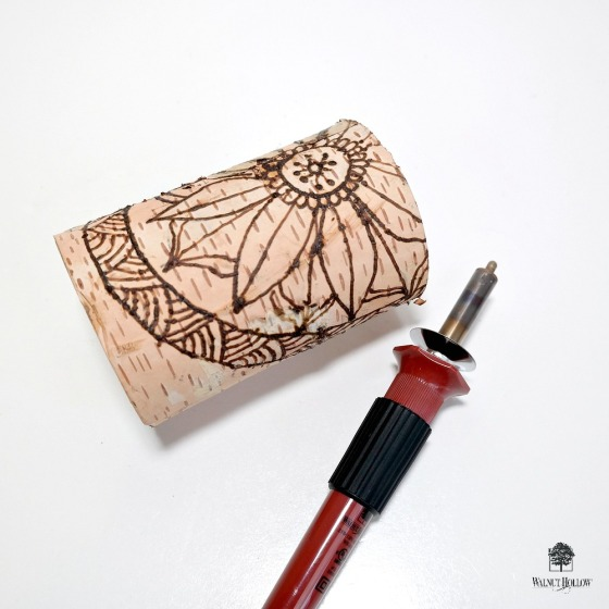 How to Wood Burn a Mandala Design onto a Birch Pillar by Dana Tatar
