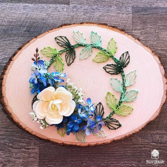 Basswood Country Round String Art Wreath with Flowers