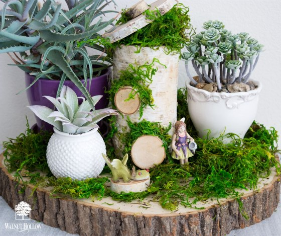 Tabletop Fairy Garden with a Birch Pillar Fairy House