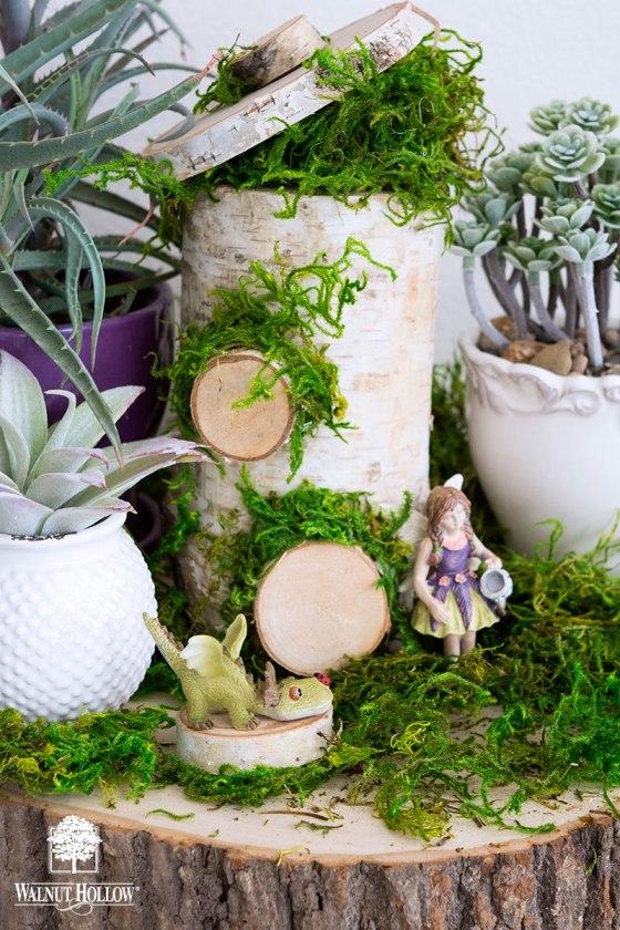 Birch Pillar Fairy House in a Tabletop Fairy Garden