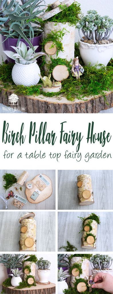Make a Tabletop Fairy Garden with a Birch Pillar Fairy house! #fairygarden