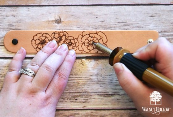 Freehand Branding Leather Bracelet - Floral