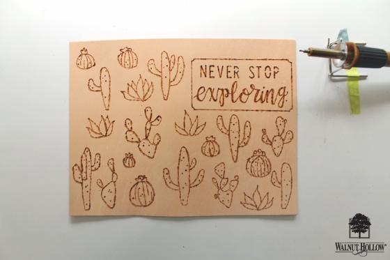 Step 2 for DIY Leather Burned Traveler's Notebook Journal